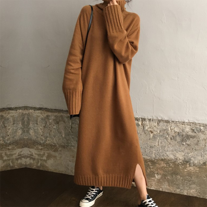 Pullover Knitted Long Sweater Dress Autumn Winter Turtleneck Solid Casual Maxi Dress Batwing Long Sleeve Vestido Robe Pull Femme