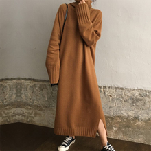 Pullover Knitted Long Sweater Dress Autumn Winter Turtleneck Solid Casual Maxi
