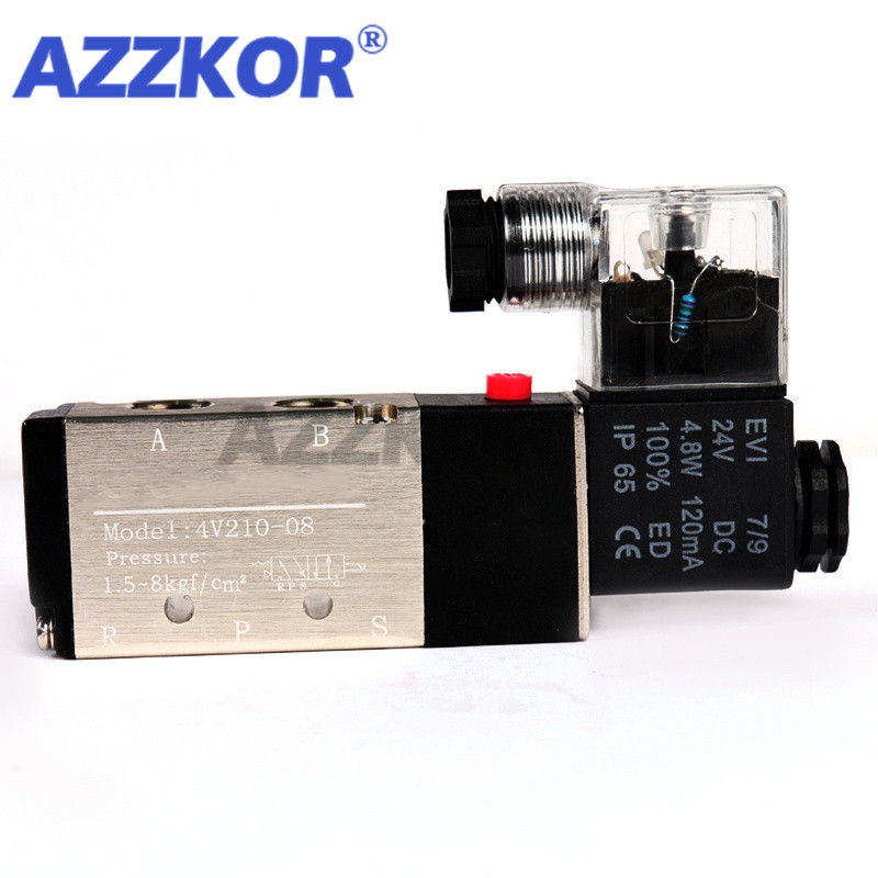 """4V210-08 High Quality Pneumatic Solenoid Valve Gas Control Valve Two-position Five-way Pneumatic Component 3/8""""DC12/24 AC110/220"""