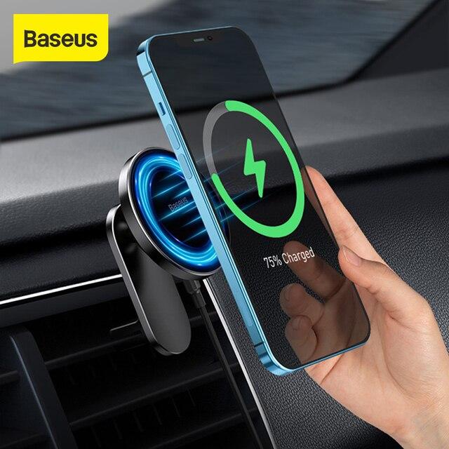 Baseus 15W supporto per auto caricabatterie Wireless centro di aspirazione magnetico cruscotto supporto uscita aria ricarica Wireless per iPhone serie 12