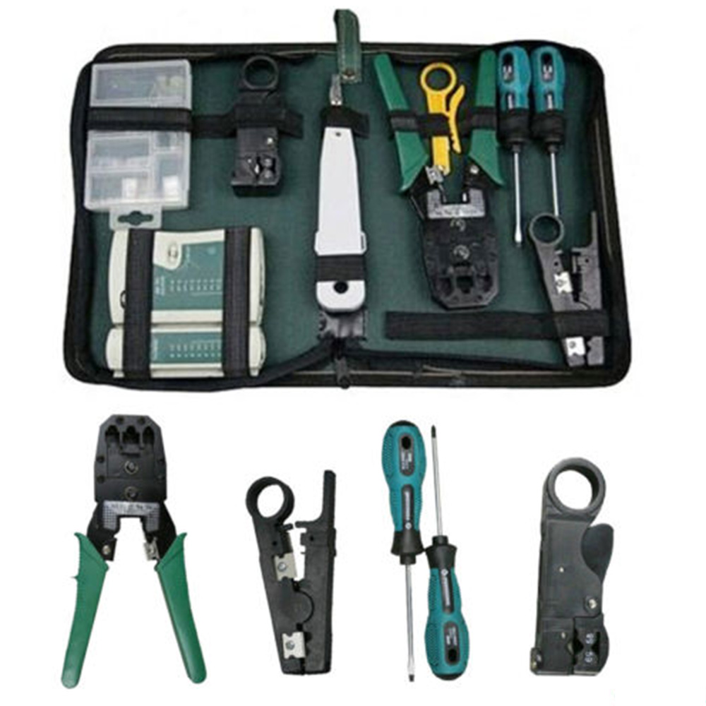RJ45 RJ11 Crimper Lan Network Internet Cabling Crimp Cable Tester Hand Tools Kit Cable Tester Stripper Cutter 3 Way Crimper Tool