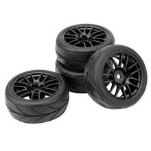 4PCS 1/10 Rubber Band RC Racing Autobanden Op Road Velg Fit Voor HSP HPI 9068-6081 RC Auto Deel Diameter 65mm Banden(China)