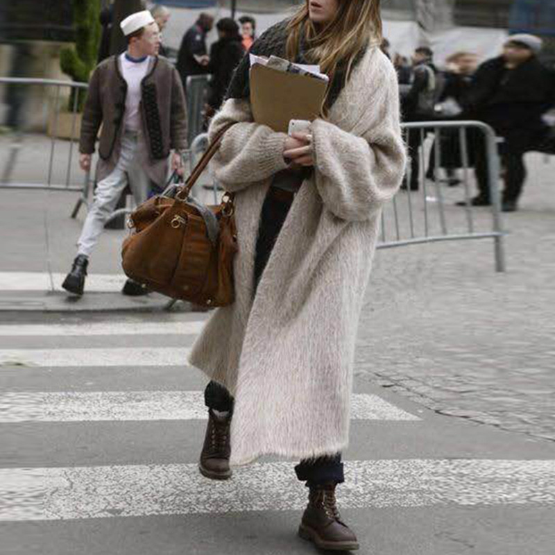 Street style Women's Knitted Long Cardigan Fake Mink Cashmere Solid Long Mink Sweater 2019 Autumn And Winter Warm Jumper