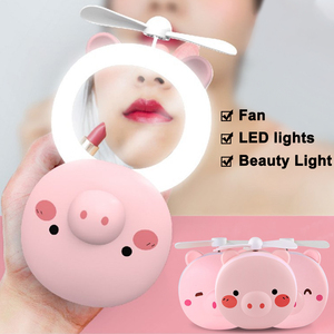 2020 Summer Cooler Portable LED Cartoon Pig Fill Light Makeup Mirror Fan Bright Adjustable USB Charging Portable Handheld Fan