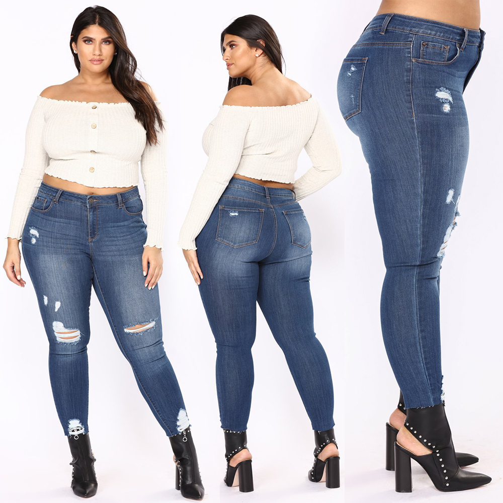 Women Fashion L-5XL Plug Size Washing Scratched Denim Jeans Female Summer Casual Holes Jeans High Street Elegant Jeans Women