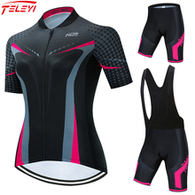 TELEYI 2021 Cycling Clothing Women Set Summer Bike Clothing Breathable Anti-UV Bicycle Wear Short Sleeve Cycling Jersey Sets