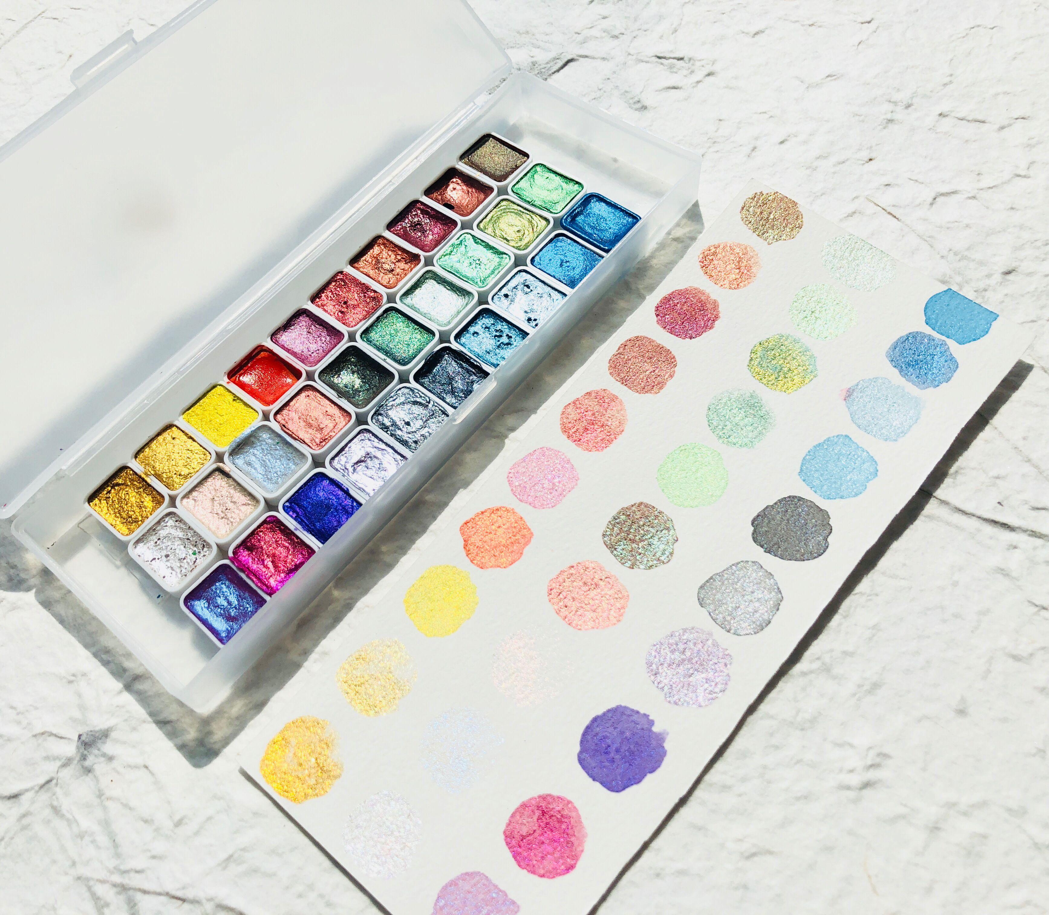 30 Цвета однотонные четверти кастрюли жемчужный металлик акварельные краски в наборе падения воды камень циркон Цвета Нейл-арт рисования ...