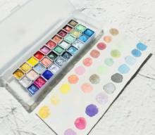 30 cores sólida quarter panelas metálico pérola aquarela pintura conjunto caindo artesanal aquarelas arte do prego desenho acuarelas
