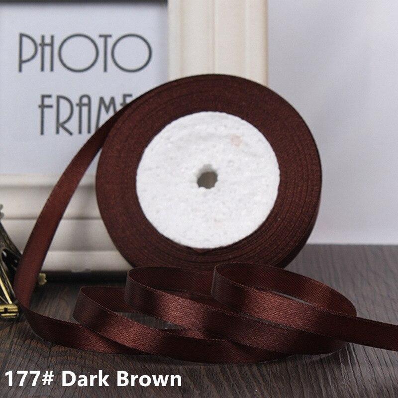 25 ярдов/рулон 6 мм 10 мм 15 мм 20 мм 25 мм 40 мм 50 мм шелковые атласные ленты для рукоделия бант ручной работы подарочная упаковка вечерние свадебные декоративные - Цвет: 177 Dark brown
