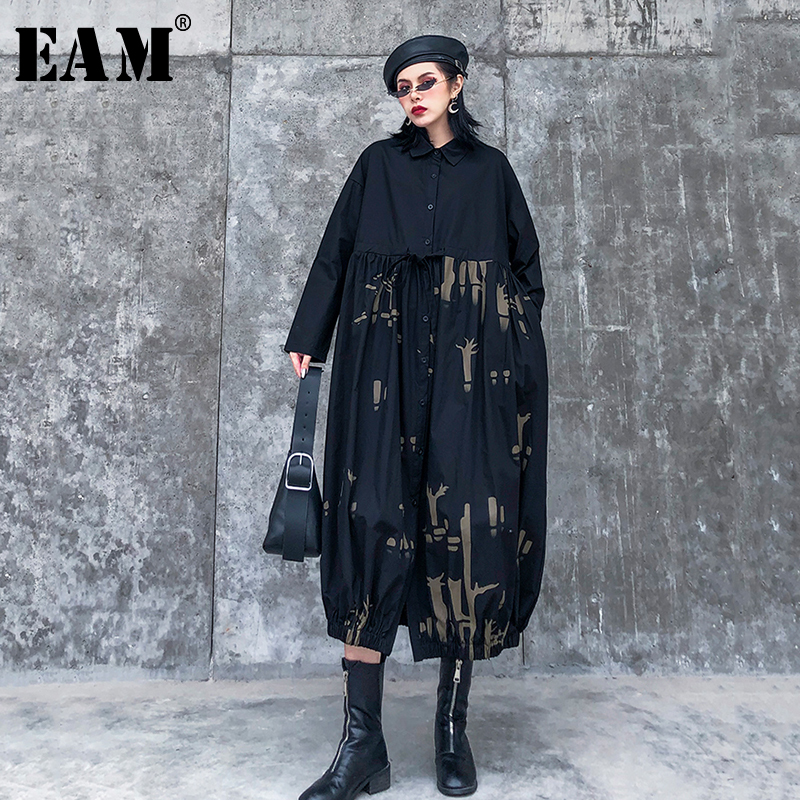 [EAM] Women Black Pattern Printed Big Size Shirt Dress New Lapel Long Sleeve Loose Fit Fashion Tide Spring Autumn 2020 1R491