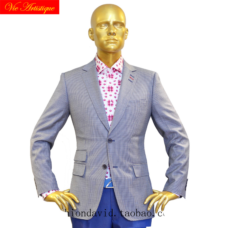 Custom Tailor Made Men's Bespoke Suits Business Formal Wedding Ware Bespoke 2 Piece Jacket Coat Pant Blue Dog Tooth Wool Slim
