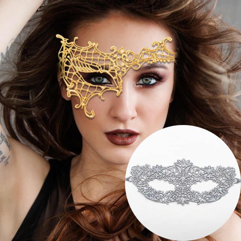 Gold and silver lace indeterminate mask Women Sexy Eye Party Masks for Masquerade Halloween Costumes Carnival Anonymous Mardi