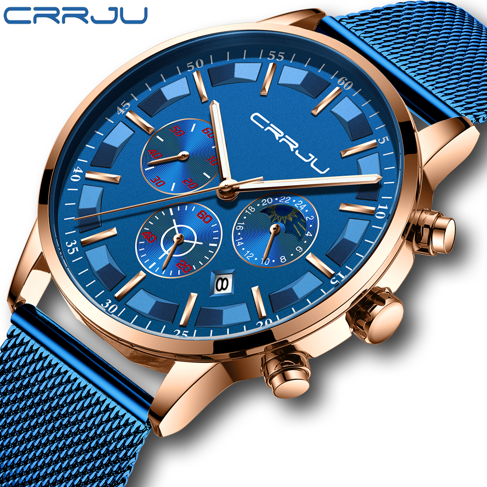 Relogio Masculino CRRJU Men Watches To Luxury Brand Business Steel Quartz Watch Casual Waterproof Male Wristwatch Chronograph