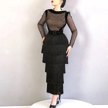 Bandage Dress Runway Long-Sleeve Black Women Celebrity Vestidos Sexy New Summer Adyce
