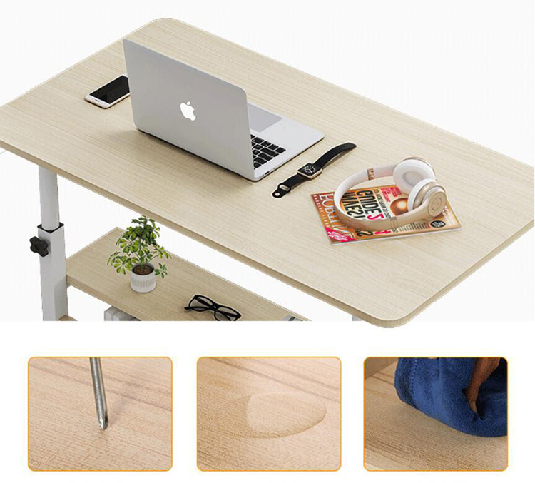 Купить с кэшбэком Wooden Laptop Table with Wheels Shelf Storage Height Adjustable Laptop Desk Computer Stand Desk for Sofa Bed Beside