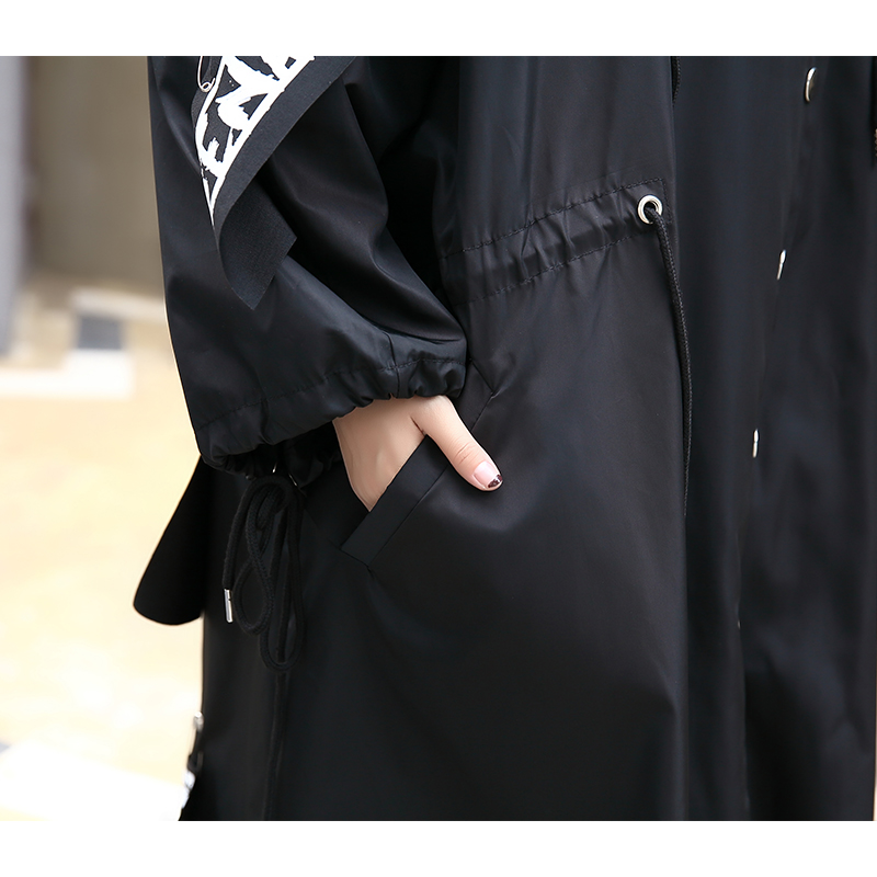 XITAO Coat Hoodie Streetwear Black Trench Female Long-Print Plus-Size Women Casual Spliced