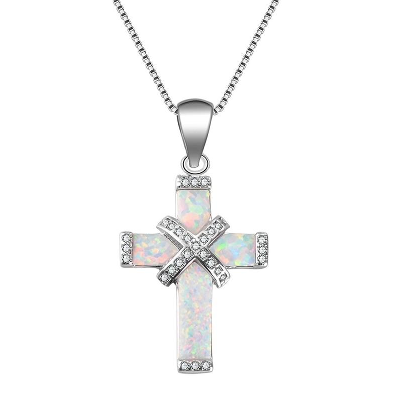 Очаровательное женское ожерелье Carofeez с крестом, подвески с имитацией белого/синего огненного опала и цирконием, подарок для девушки