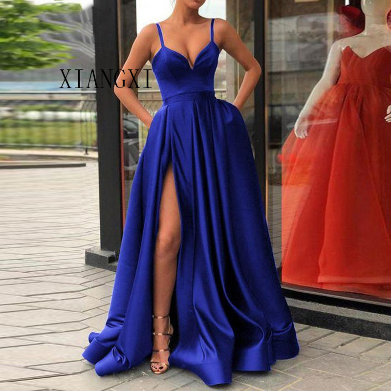 Custom Made A Line Royal Blue Spaghetti Straps Sweetheart Prom Dress With High Slit Satin Long Evening Gown 2019