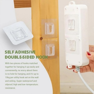 DoubIe-Sided Adhesive Wall Hooks Hanger Strong Transparent Hooks Suction Cup Sucker Wall Storage HoIder For Kitchen Bathroo