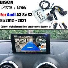 Invertendo a câmera para audi a3 8v s3 8p 2012 2021 adaptador de interface de câmera de backup frontal câmera traseira display melhorar decodificador