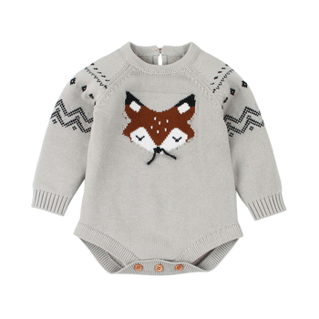 Baby Bodysuit Autumn Long Sleeve Fox Knitted