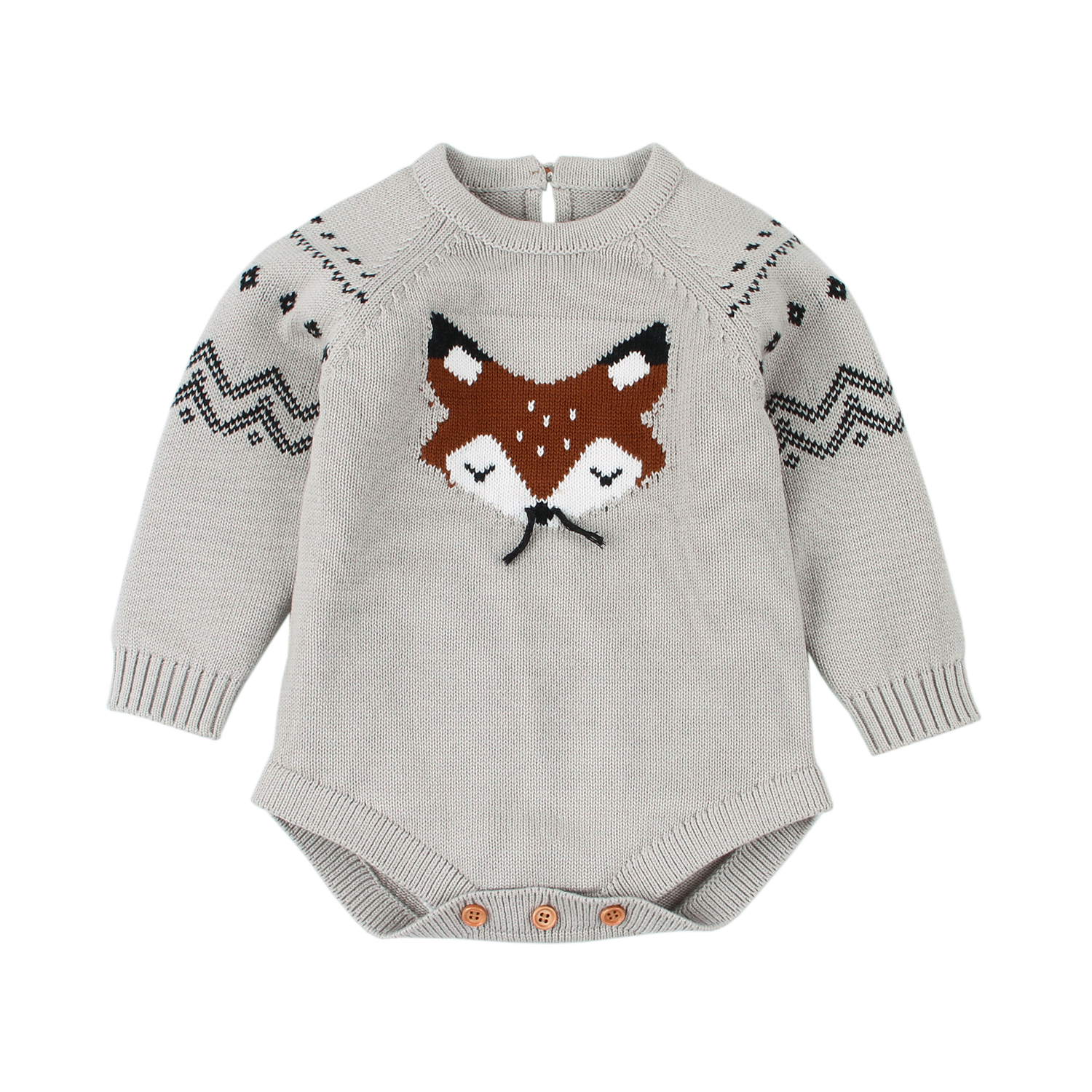 Newborn Baby Bodysuits Long Sleeve Cartoon Fox Knitted Toddler Kids Boys Girls Body Tops Jumpsuits Children's Costumes One Piece