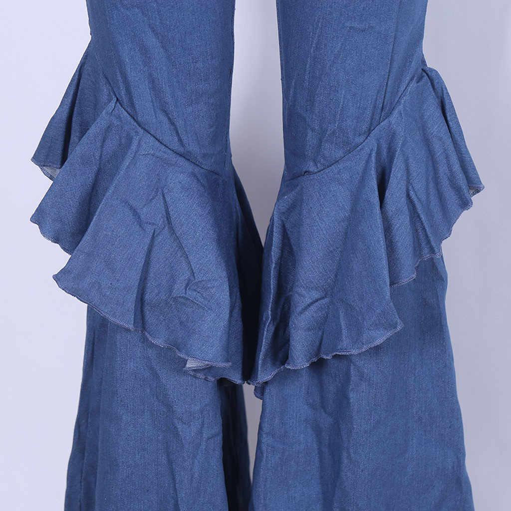 Vrouwen Ruches Jeans Wilde Sexy Grote Flare Broek Slim Denim Wijde Pijpen Broek Elegante Vrouwelijke Casual Lange Broek Party Stretchy bodem