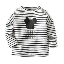 Детская футболка для мальчиков и девочек г., осенняя хлопковая футболка с длинными рукавами с Микки Маусом одежда для малышей футболка От 1 до 6 лет