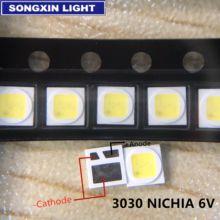 100 шт. светодиодный Светодиодный фонарь высокой мощности 1,6 Вт 3030 6 в холодный белый 100-130LM ТВ применение 3030M-W3SP для AOT/ NICHIA