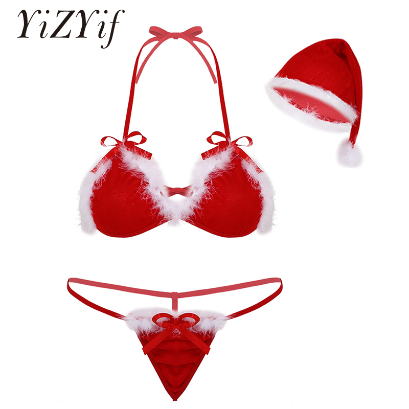Women Lingerie Sets Sexy Christmas Costume Soft Velvet Halter Neck Bikini Bra Top With G-string Thong Briefs Underwear And Hat
