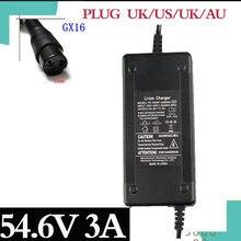 54.6v3a bicicleta elétrica carregador de bateria de lítio para 48v bateria de lítio 3pin conector fêmea xlrf xlr 3 soquetes rapidamente entregar