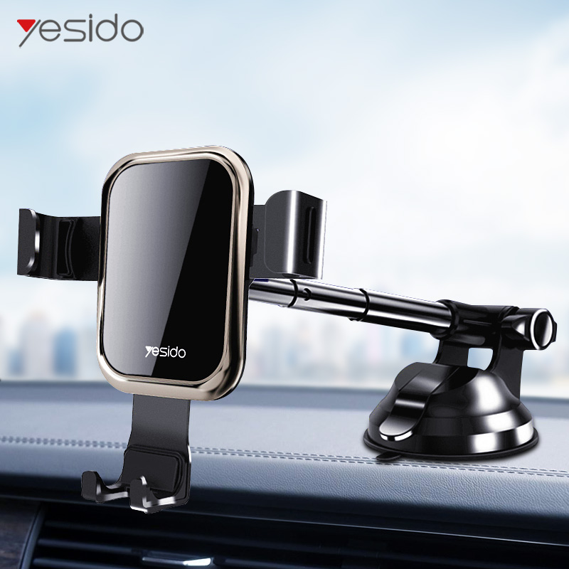 Yesido Telescopic Tempered Glass Gravity Car Phone Holder Air Vent Car Mount Holder For IPhone X XS Samsung S10 Mobile Car Stand