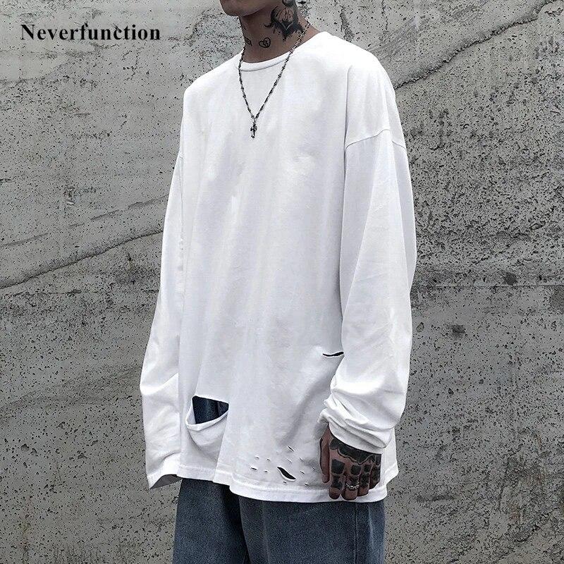 Baru Pria Kanye West Gaya Terlalu Besar Robek Lengan Panjang Tshirts Streetwear Warna Solid Sederhana Lubang Kapas Pria Kasual T Shirt T Shirt Aliexpress