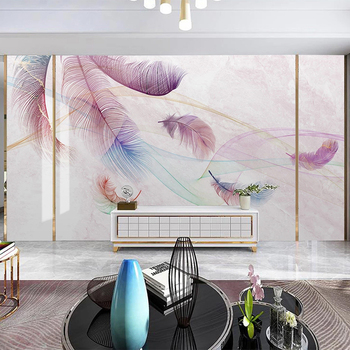 Custom Mural Wallpaper Modern Watercolor Pink Feather Line Marble Wall Painting Living Room TV Background Wall Papel De Parede wellyu custom wallpaper 3d nordic modern minimalist white feather living room tv background wall papel de parede 3d wallpaper