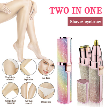 Electric Eyebrow Trimmer 2-in-1 Epilator Makeup Painless Eye Brow Mini Shaver Razors Portable Facial