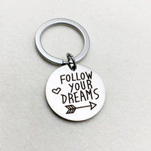 цена на FOLLOW YOUR DREAMS Stainless Steel Keychain Couple Jewelry Silver Key Ring Lover's Accessories
