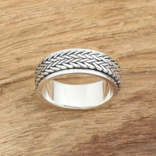 925-Sterling-Silver Rings Rope-Spinner Raised-Sculpture-Ring Men for Tibetan Man S925