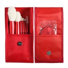Red 6Pcs/Set Natural Goat Hair Makeup Brush Set with Bag and Air Puff Beauty Blending Powder Blush Eye Eyelash Kit