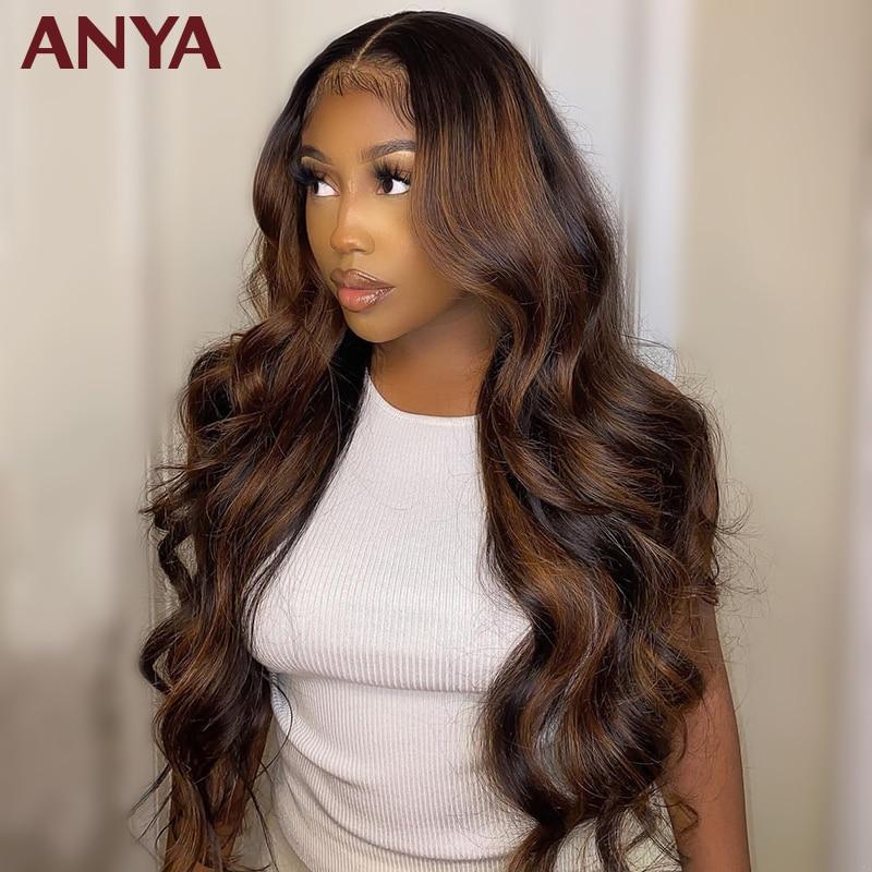 Anya brown destaques onda do corpo laço transparente frente pré arrancado peruca peruano virgem perucas de cabelo humano para preto