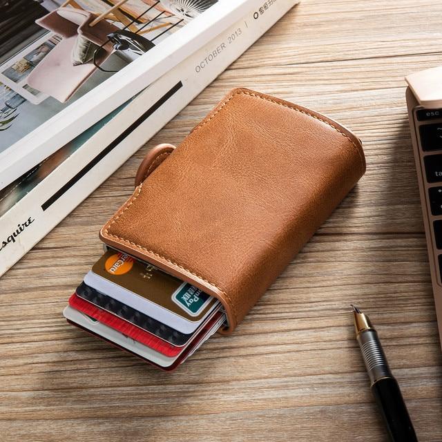 BISI GORO 2021 Smart Man Wallet Double Boxes Card Holder  RFID Blocking Anti-theft PU Leather Travel Money Case 6