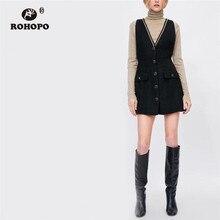 ROHOPO Sleeveless V Collar Metal Chain Neckline Buttons Fly Tartan Black Dress Flared Hem Side Welt pockets Preppy Vestido #284