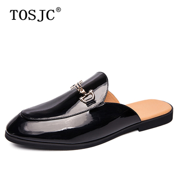цена TOSJC Fashion Men Half Loafers Patent Leather Slippers Breathable Man Outdoor Mules Lightweight Drag Shoes Buckle Casual Shoes онлайн в 2017 году