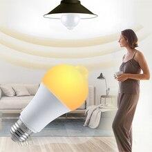 PIR sensörlü ışık ampul gece lambası E27 hareket sensörü ile LED lamba 85 265V 12W 18W otomatik kapalı duyarlı dedektör Bombillas