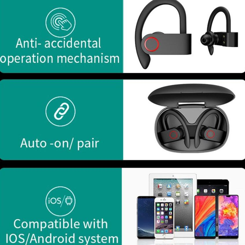 JHO-A9S Bluetooth 5.0 Ear-mounted Wireless TWS Headset HiFi Sound HD Call Dynamic Headphone Auto Connection Ear Hanging Earphone (7)