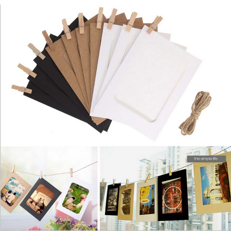 30PCS 3-6 inch Paper Photo Frame with Clips and Rope for Pictures DIY Hanging Picture Album Home Decor Wall