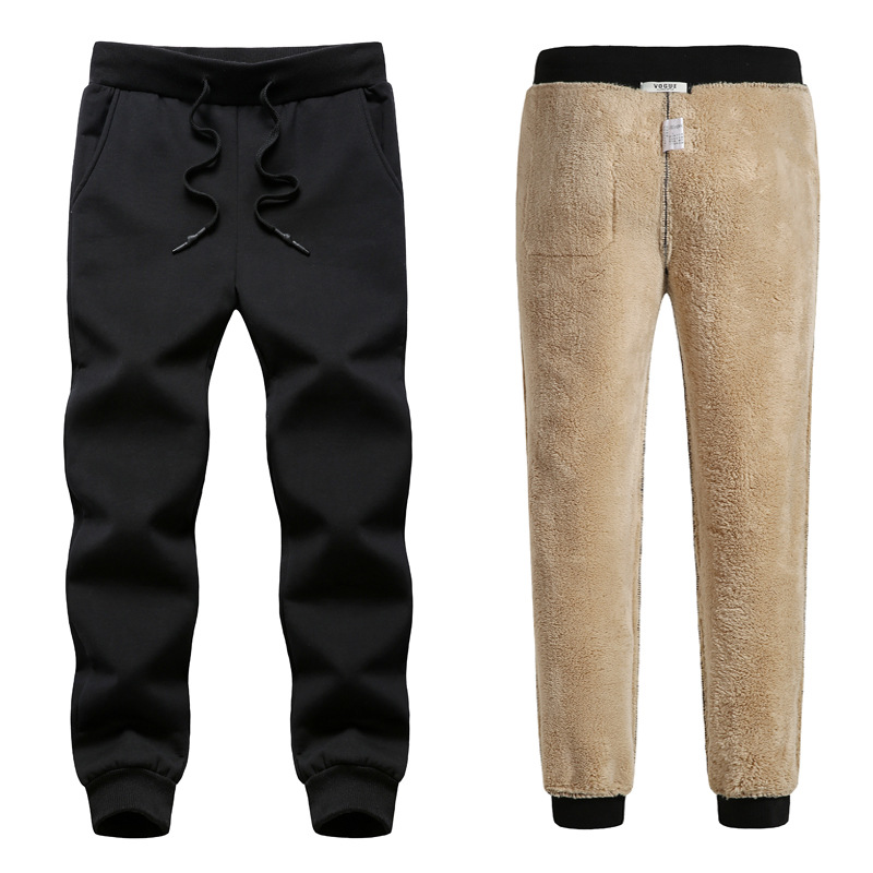 2019 Thick Fleece Jogger Mens Pants Cotton Trousers Male Winter Warm Velvet Sweatpants Tracksuit Joggers Autumn Winter L-8XL
