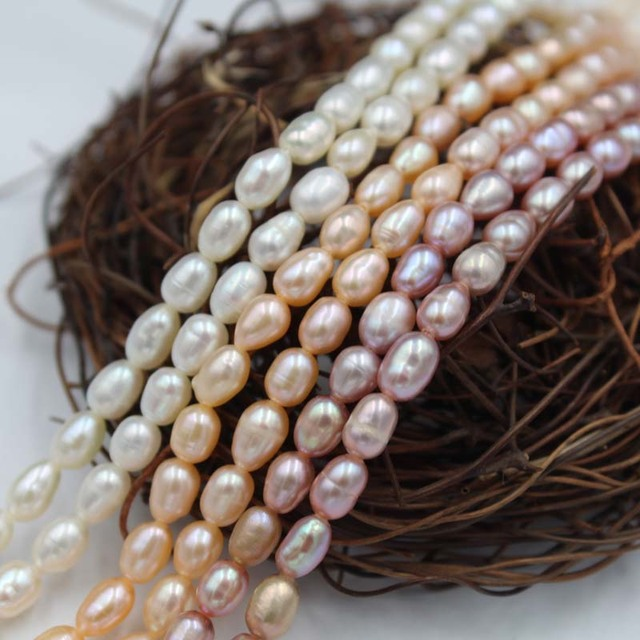 Natural Freshwater Cultured Pearls Beads Rice Shape 100% Natural Pearls for Jewelry Making DIY Strand 13 Inches