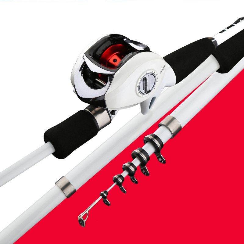 Carbon Lure Angelrute mit Low-Profile-Reel Teleskop Sea Lake Angelrute Set ASD88