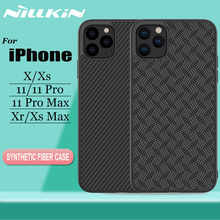Nillkin آيفون 11 برو ماكس X Xr Xs ماكس حافظة غطاء الأراميد ألياف الكربون الصلب PC البلاستيك الغطاء الخلفي حقيبة لهاتف أي فون 11 برو ماكس