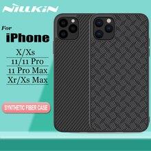 Nillkin capa para iphone 11 pro max x xr xs max, proteção em fibra de carbono, tampa traseira em plástico resistente capa para iphone 11 pro max
